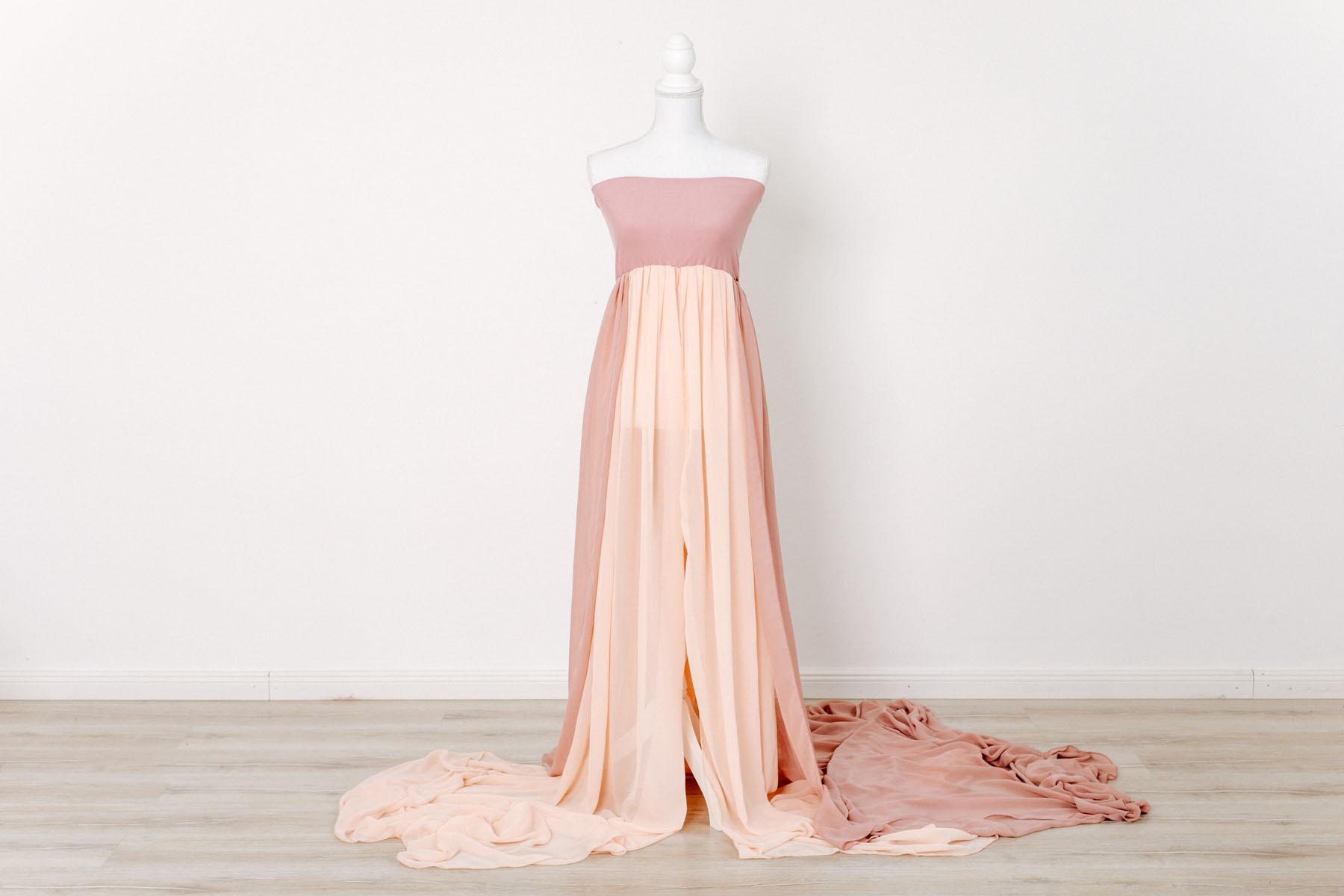 Schwangerschaftskleid für Babybauch Fotoshooting - hellrose, apricot -