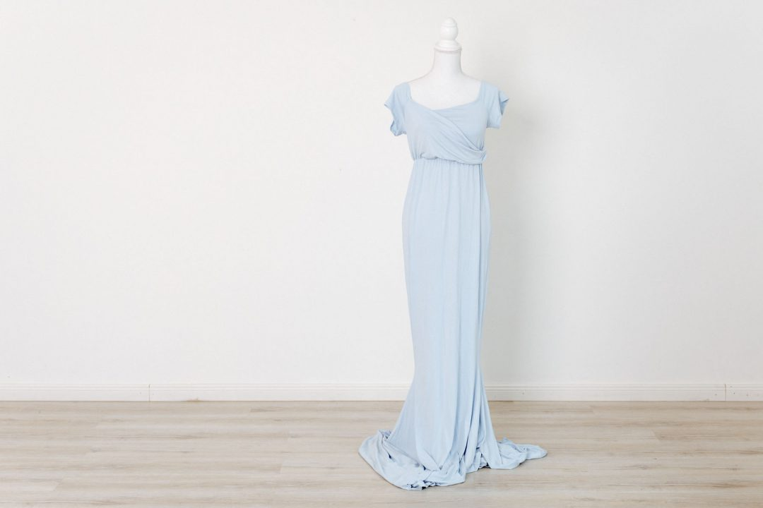 Schwangerschaftskleid für Babybauch Fotoshooting - hellblau -