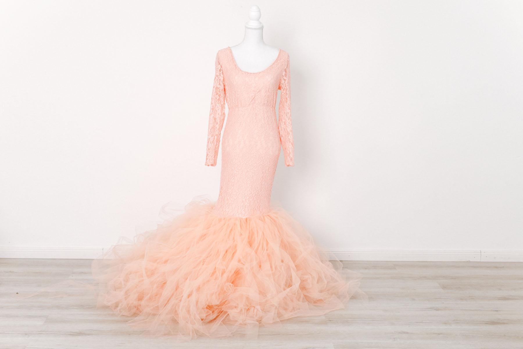 Schwangerschaftskleid für Babybauch Fotoshooting - rose,apricot -